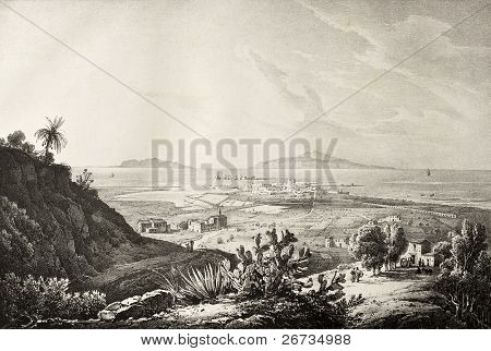 Antique image of Trapani, Sicily, with Aegadean islands in background. Original illustration was created by Gigaute, Marinoni, Cuciniello and Bianchi and may be dated to the first half of the 19th c. poster