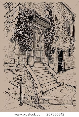 Italy, Tuscany. Old Stone House. Digital Sketch Hand Drawing Illustration.
