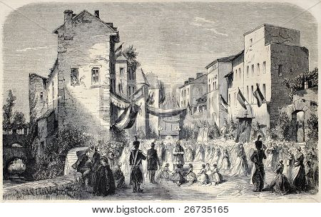 Old illustration of Corpus Christi feast celebration in Evian-les-Bains, France. Original, from drawing of Worms, after sketch of Bonnet, published on L'Illustration, Journal Universel, Paris, 1860