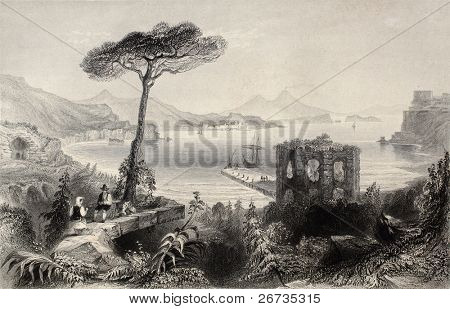 Antique illustration of  Naples bay, whit Vesuvius volcano on background, Italy. Original, created by W. H. Bartlett and and T. A. Prior, was published in Florence, Italy, 1842, Luigi Bardi ed.