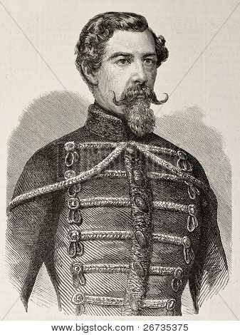 Engraved portrait of Istvan Turr, General in Garibaldi's Expedition of the Thousand and then peace activist. Original, from drawing of Marc, published on L'Illustration, Journal Universel, Paris, 1860