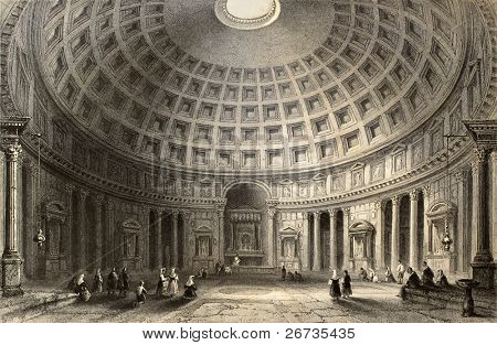Antique illustration of  Pantheon in Rome, Italy. Original, created by W. H. Bartlett and E. Challis, was published in Florence, Italy, 1842, Luigi Bardi ed.