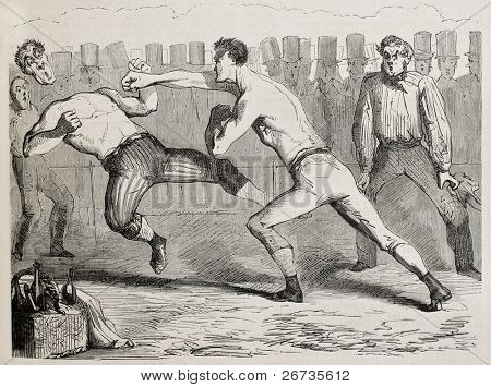Antique humorous illustration of a straight right paunch during a boxing match. Original, by Benassis et Darjou, published on L'Illustration, Journal Universel, Paris, 1860 poster