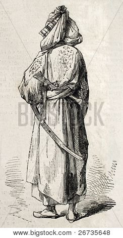 Antique illustration of Afghan man in Kandahar. Original illustration, engraved on drawing of E. Duhousset, was published on ?L'Illustration, Journal Universel?, Paris, 1860 poster