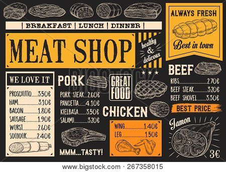 Meat Product Sketches On Chalkboard. Vector Beef Steak And Sausage, Ham And Pork Bacon, Salami And G
