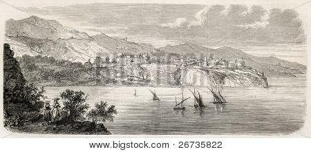 Antique illustration of Principality of Monaco coast. Original, from drawing of Gaildrau, after sketch of Ludovic D'Hastrel, published on L'Illustration, Journal Universel, Paris, 1860
