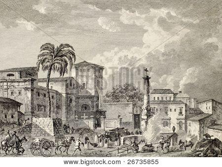 View of Palma di Montechiaro, Sicily. Created by Bertheaux e Lenard, published on Voyage Pittoresque de Naples et de Sicilie, by J. C. R. de Saint Non, Imprimerie de Clousier, Paris, 1786