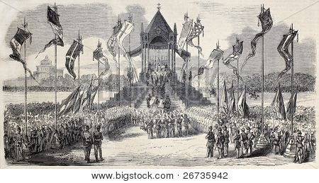 Old illustration of celebration in Milan, Italy, of Lombardy independence from Austria. From drawing of Gaildrau, after sketch of Ronchetti, published on L'Illustration, Journal Universel, Paris, 1860 poster
