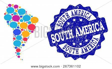Social Network Map Of South America And Blue Rubber Stamp Seal. Mosaic Map Of South America Is Forme