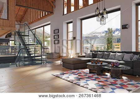 luxury home interior with fireplace. 3d rendering design concept