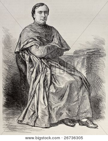 Portrait of  Lucien Louis Joseph Napoleon Cardinal Bonaparte, Prince of Canino and Musignano. By Roberts, after photo of Mayer and Pierson, publ.on L'Illustration, Journal Universel, Paris, 1868