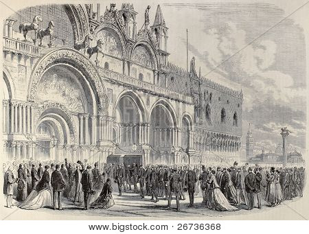 Old illustration of Daniele Manin's funeral in St. Mark's Basilica Venice, Italy. Original, created by Lallemand and Cosson-Smeeton, published on L'Illustration, Journal Universel, Paris, 1868