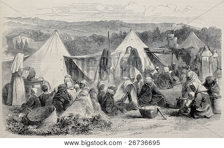 Old illustration of widows and repudiated women asylum at El Biar, near Algiers, Algeria. Created by Pauquet and Cosson-Smetton, published on L'Illustration, Journal Universel, Paris, 1868