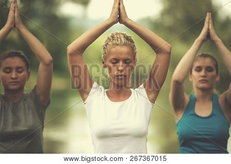group of young healthy women relaxing while meditating and doing yoga exercise in the beautiful nature on the bank of the river