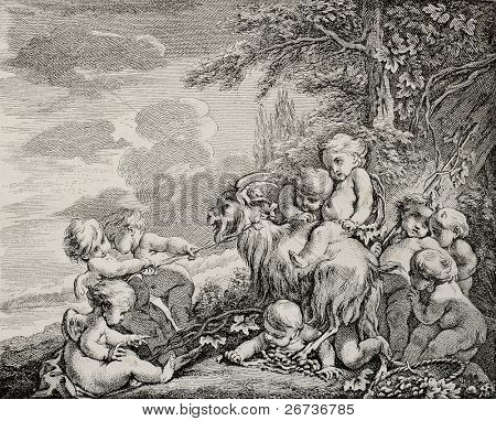 Antique illustration depicting Bacchus feast. Created by Boucher, published on L'Illustration, Journal Universel, Paris, 1868