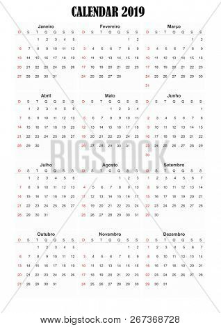 2019 Portuguese generic calendar A3, easy cropping for the busy designers who want to create their own designs, agendas, datebooks.