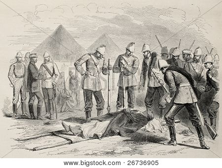 Old illustration of Abyssian emperor death: Tewodros II body found after Magdala battle. Created by Pauquet and Dutheil, published on L'Illustration, Journal Universel, Paris, 1868
