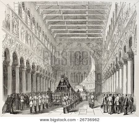 Old illustration of King Ludwig I of Bavaria funeral in Saint Boniface Abbey, Munich, Germany. Created by Pauquet and Cosson-Smeeton, published on L'Illustration, Journal Universel, Paris, 1868