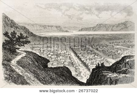 Old view of Salt Lake City, Utah. Created by Blanchard, published on L'Illustration, Journal Universel, Paris, 1868