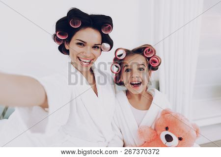 Bear With Family Happy Mother And Happy Girl. Fun Girl With Mother. Glamour And Happy Family In The