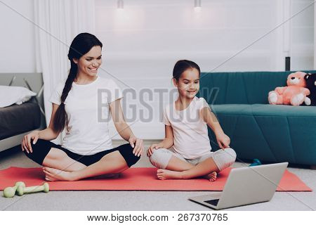 Fitness For Mom. Happy People Training Together. Sport With Smile And Yoga. Hobby For People. Motiva