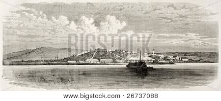 Old view of Belgrade, Serbian capital. Created by Blanchard and Cosson-Smeeton, after drawing of Bouquet, published on L'Illustration, Journal Universel, Paris, 1868
