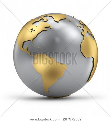 Gold and Silver Earth Globe with Shadow on White Background. international Business Concept. 3D Illustration.