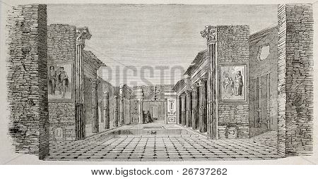 Old illustration of peristyle in the House of castor and Pollux, Pompeii, Italy. Created by Lancelot  published on Le Tour du Monde, Paris, 1864