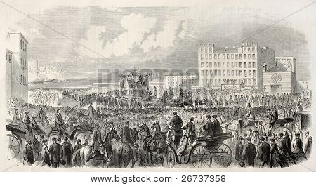 Maximilian I got back from Mexico. Transportation of body from Trieste's port to railway station towards Vienna. By Malchus and Cosson-Smeeton, publ. on L'Illustration, Journal Universel, Paris, 1868
