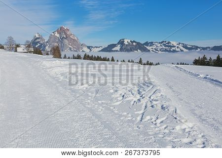 View From The Village Of Stoos In The Swiss Canton Of Schwyz In Winter, Kleiner Mythen And Grosser M