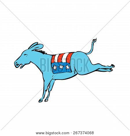 Drawing Sketch Style Illustration Of A Donkey Or Jackass Mascot With American Usa Stars And Stripes