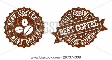 Best Coffee Rubber Stamps. Vector Seals In Chocolate Color With Round, Ribbon, Rosette, Coffee Bean
