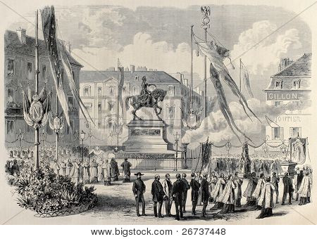 Old illustration of Jeanne D'Arc procession in Place du Martroi, Orleans, France. Created by Janet-Lange and Cosson-Smeeton, published on L'Illustration, Journal Universel, Paris, 1868 poster