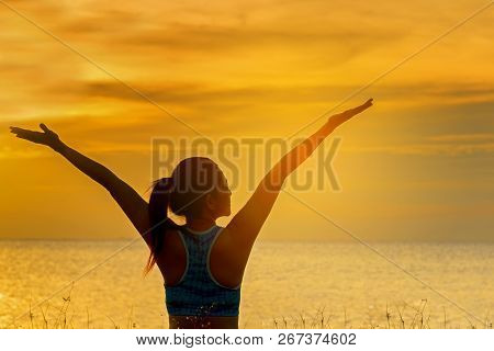 Silhouette Healthy Woman Lifestyle Relaxing And Exercising Vital Meditate And Practicing Yoga On The