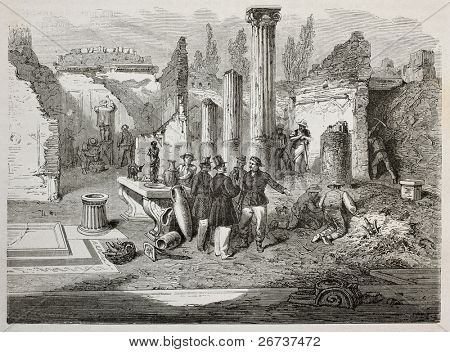 Old illustration of Director Giuseppe Fiorelli supervising Pompei excavation. Created by Bayard, after Duclere, published on Le Tour du Monde, Paris, 1864