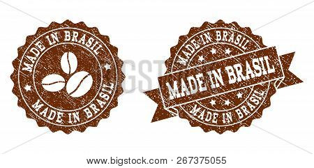 Made In Brasil Rubber Stamps. Vector Seals In Chocolate Color With Round, Ribbon, Rosette, Coffee Be