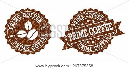Prime Coffee Rubber Stamps. Vector Seals In Chocolate Color With Round, Ribbon, Rosette, Coffee Bean
