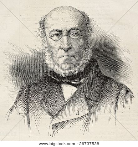 Old engraved portrait of Francois Edouard Picot, French painter of mythological, religious and historical subjects. Created by Chenu, published on L'Illustration, Journal Universel, Paris, 1868