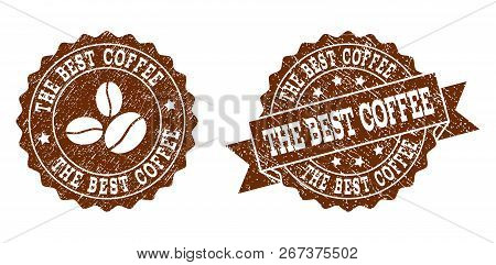 The Best Coffee Rubber Stamps. Vector Seals In Chocolate Color With Round, Ribbon, Rosette, Coffee B