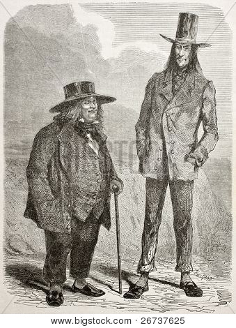 Old illustration of eccentric slim and fat men in southern America. Created by Riou and Pannemaker, published on Le Tour du Monde, Paris, 1864