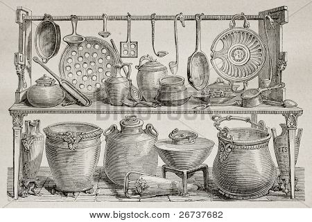 Old illustration of bronze pottery and kitchen utensils found in Pompeii. Created by Catenacci, published on Le Tour du Monde, Paris, 1864