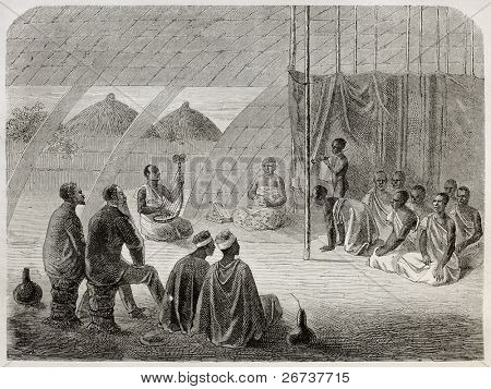 Old illustration of tribal queen audience to Speke and Grant explorers. Created by Bayard, published on Le Tour du Monde, Paris, 1864