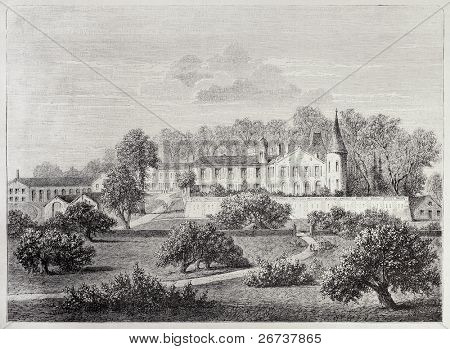 Antique illustration of Chateau Lafite (Lafite castle), Bordeaux, France. Created by Lallemand and Levy, after drawing of De Lorbac, published on L'Illustration, Journal Universel, Paris, 1868