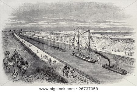 Antique illustration of a ship convoy sailing through Suez canal. Original, from drawing of Blanchard, was published on L'Illustration, Journal Universel, Paris, 1868
