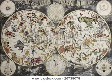 Old sky map depicting boreal and austral hemispheres with constellations and zodiac signs. Created by Frederick De Wit, Amsterdam 1680