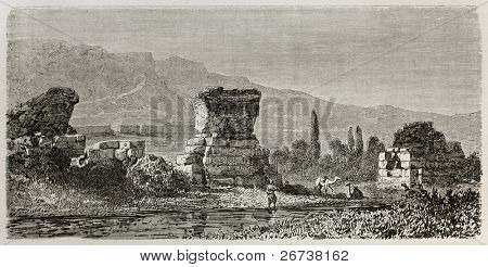 Old illustration of ruins of  Sardis, the capital of the ancient kingdom of Lydia. Turkey. Created by Gaiaud, published on Le Tour du Monde, Paris, 1864