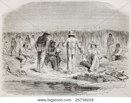Old illustration of men talking near the river. Created by Riou, published on Le Tour du Monde, Paris, 1864