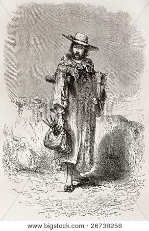 Self-portrait of a painter with his artist's tools. Created by Riou, published on Le Tour du Monde, Paris, 1864