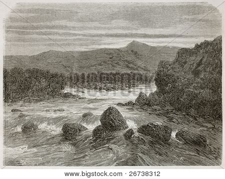 Old illustration of confluence of Yanatili and Quillabamba Santa-Ana rivers, Peru. Created by Riou, published on Le Tour du Monde, Paris, 1864