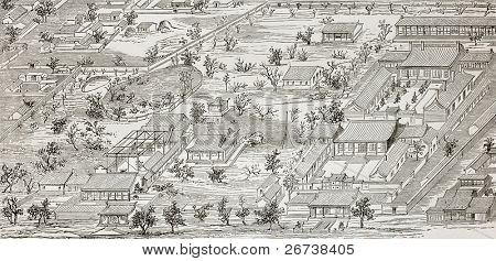 Old illustration of French legation in Beijing, general plan. Created by Lancelot after drawing of unknown Chinese author, published on Le Tour du Monde, Paris, 1864